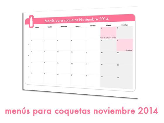 Menús para coquetas Noviembre 2014