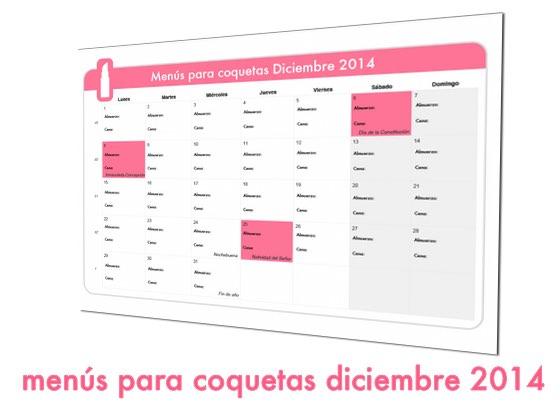 Menús para coquetas Diciembre 2014